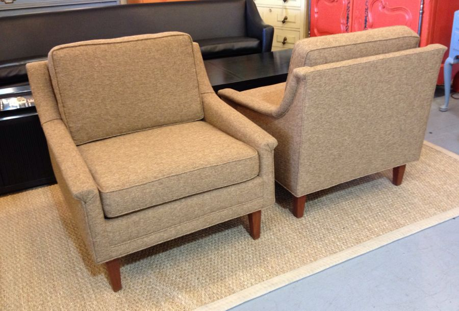 Pair Camel Color Mid Century Club Chairs Sold Past