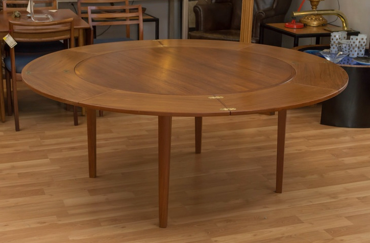 Dyrlund Round Lotus Teak Dining Table Sold Past Perfect
