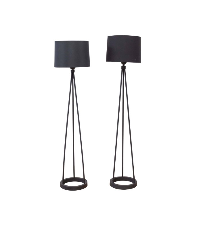Black Cast Iron Tripod Floor Lamps By Robert Bulmore 1