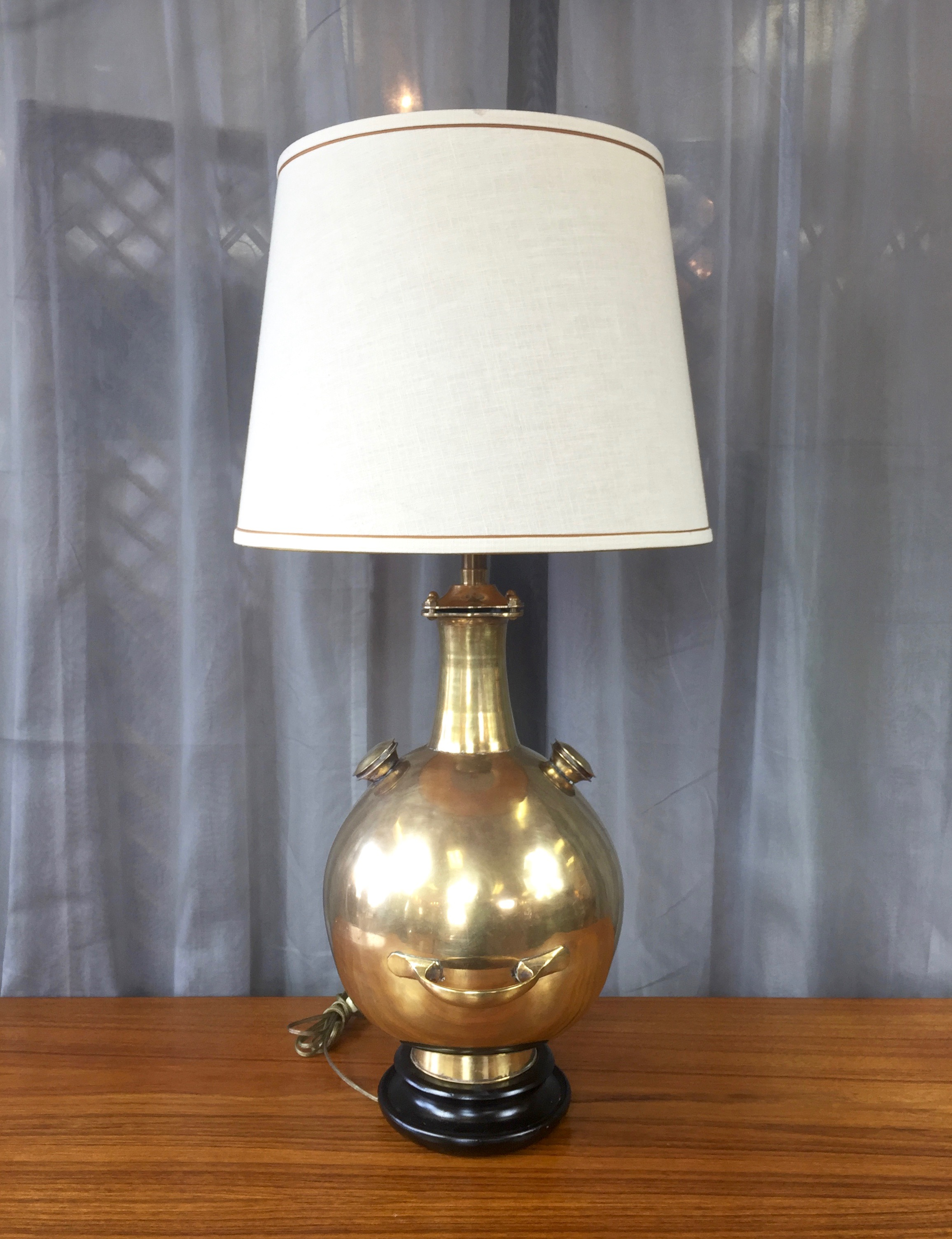 Rare And Monumental Marbro Brass Diving Bell Table Lamp Sold Past Perfect