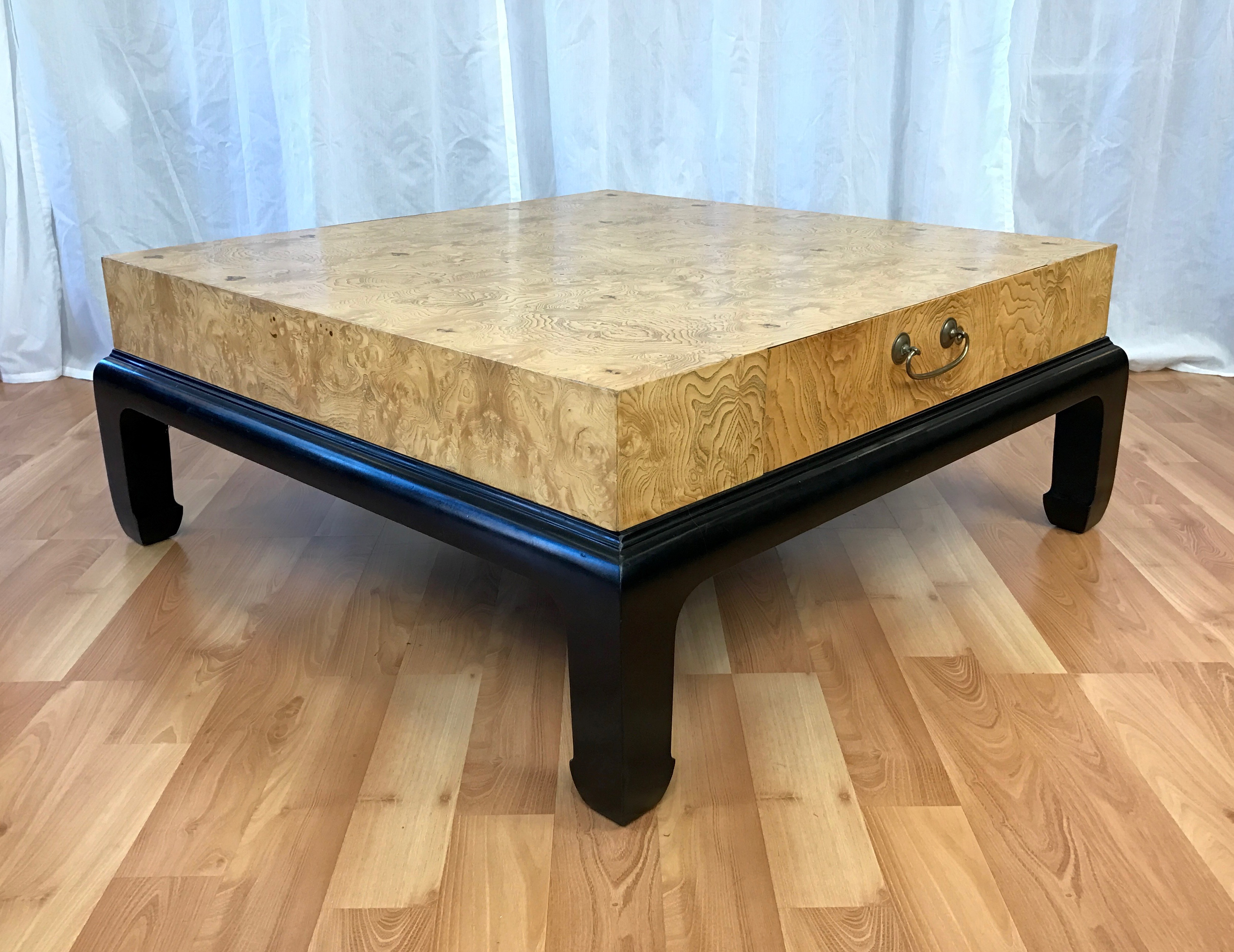 Large Burl Wood Coffee Table With Drawers Attributed To