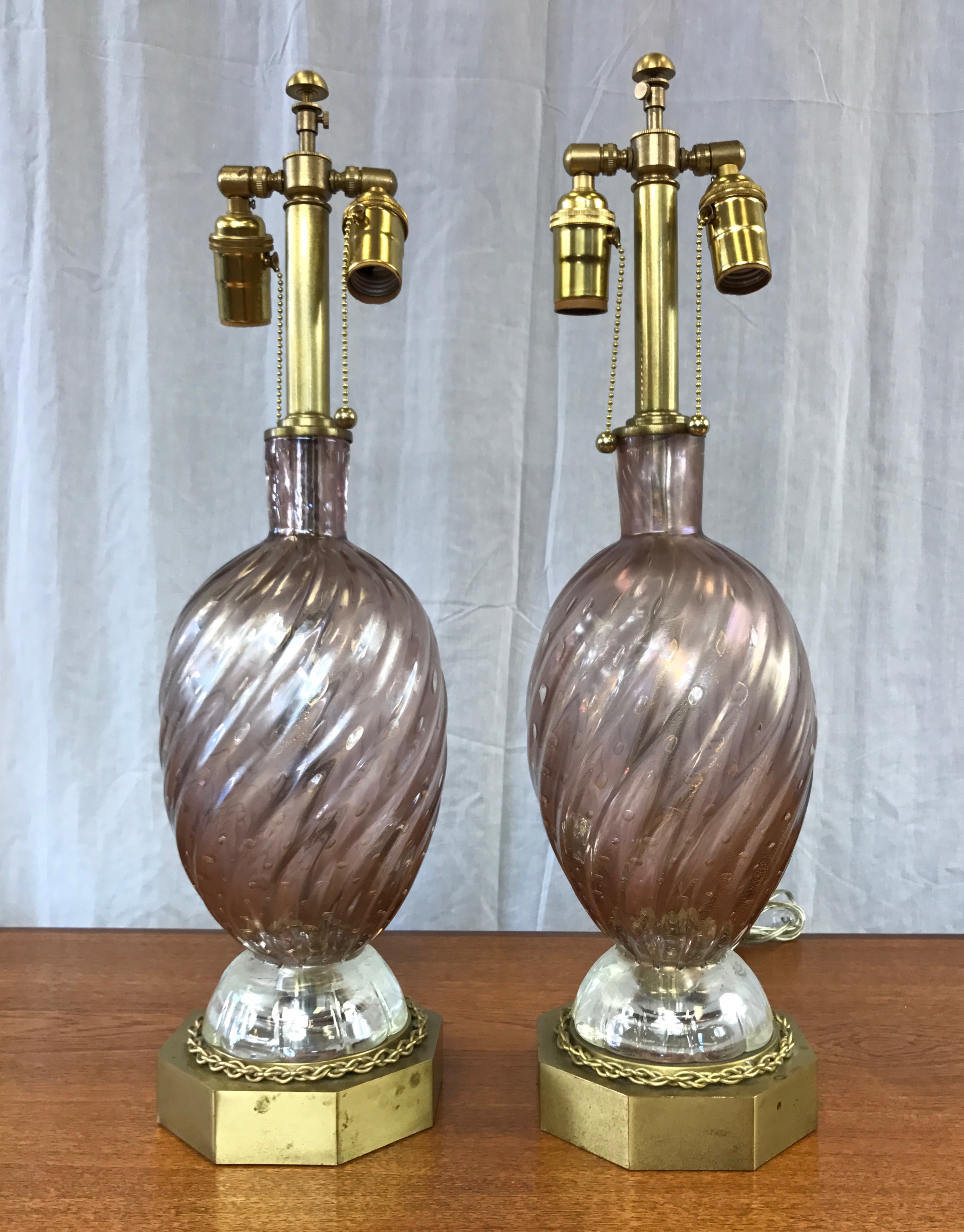 Pair Of Barovier E Toso Murano Glass Amp Brass Table Lamps