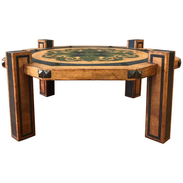 Arts Crafts Leather Coffee Table In